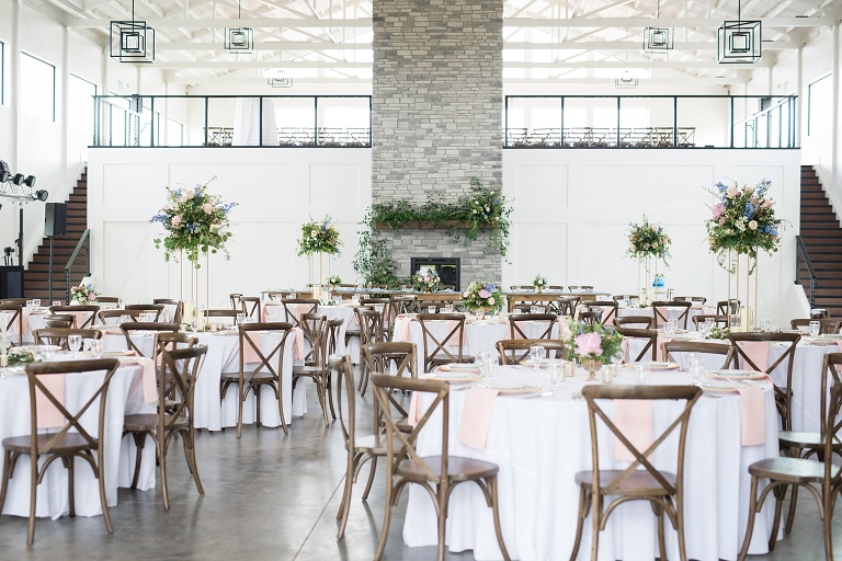 Emerald Hills Event wedding day with blush and dusty blue color palette